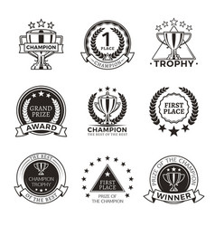 Black and white champion trophies and medals set vector