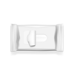 Blank wet wipes realistic flow pack top view vector