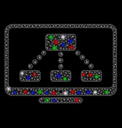 bright mesh 2d hierarchy monitor with flare spots vector image