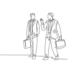 business conversation concept one single line vector image