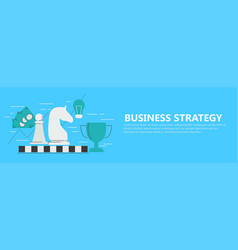 business strategy banner with chessboard vector image