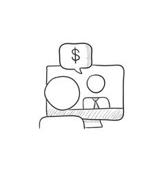 Business video negotiations sketch icon vector image