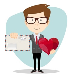 Businessman Holding a Heart and Envelope vector image