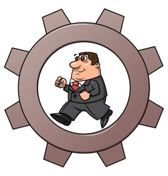 Businessman in cogwheel machine 2 vector image