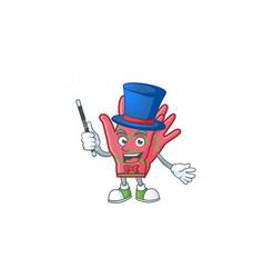 Cartoon character christmas gloves magician vector