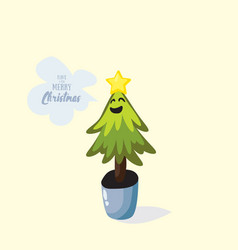 cartoon christmas tree in pot vector image