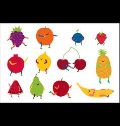 cartoon cute fruit happy vector image