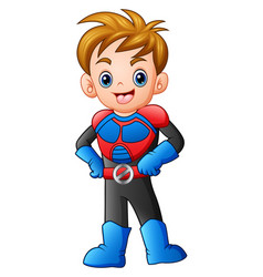 cartoon superhero boy posing vector image