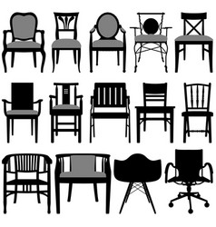 Chair design a set of silhouette showing vector