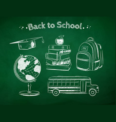 chalked education items vector image