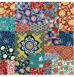 Chinese style fabric patchwork wallpaper vector