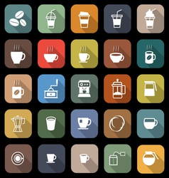 Coffee flat icons with long shadow vector image