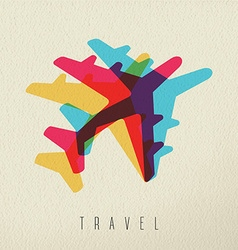 Colorful airplane travel concept background vector