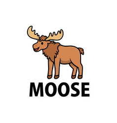 cute moose cartoon logo icon vector image
