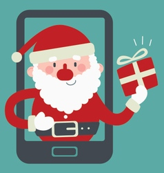 Cute Santa Inside a Phone Holding a Present vector image
