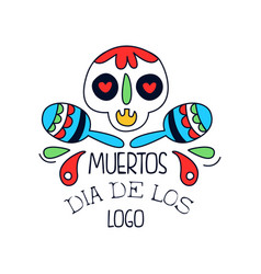 Dia de los muertos logo mexican day of the dead vector