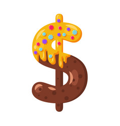 Donut cartoon dollar symbol vector