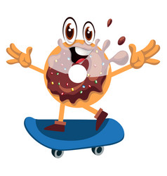 donut with skateboard on white background vector image
