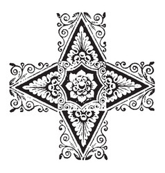 doodad have four pointed corners vintage engraving vector image