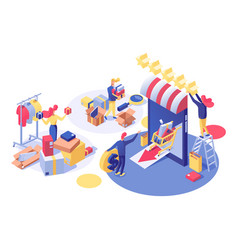 E-commerce and shopping isometric vector