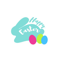 easter text and blue bunny with eggs on white vector image