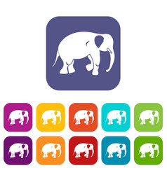 Elephant icons set flat vector