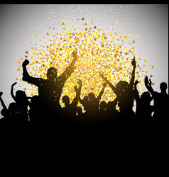 Excited party crowd on confetti background vector