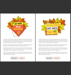 Exclusive fall products buy now super price poster vector