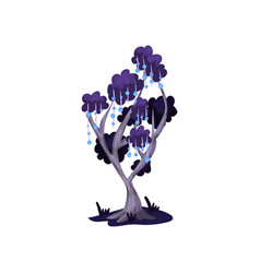 fairytale tree in blue colors fantasy nature vector image