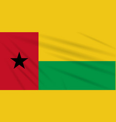 Flag guinea-bissau swaying in wind vector