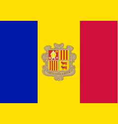 Flag of andorra official colors and proportions vector
