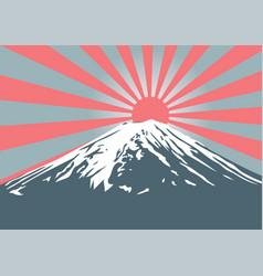 fuji mountain with sun shine on peak vector image
