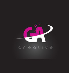 Ga g a creative letters design with white pink vector