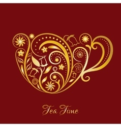 Gold Cup of Tea With Floral Design Elements vector