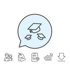 graduation caps line icon education sign vector image