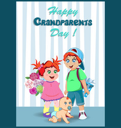 grandchildren with bouquet of flowers and vector image