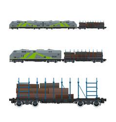 green locomotive with railway platform vector image