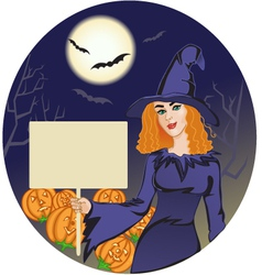 Halloween witch with message board vector image