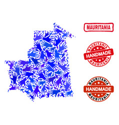Hand composition mauritania map and distress vector