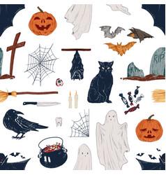 hand drawn halloween fall symbols autumn vector image