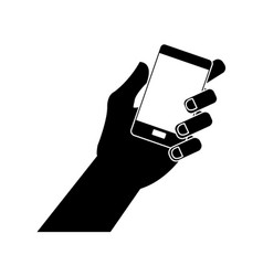 hand holding phone icon image vector image