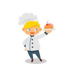 happy little boy holding plate with tasty cake vector image