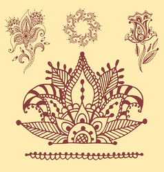 henna tattoo brown mehndi flower doodle ornamental vector image