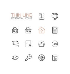 House Security - Thin Single Line Icons Set vector