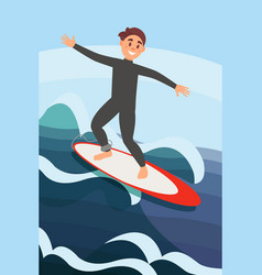 joyful young man surfing on ocean waves extreme vector image