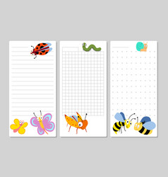 Kids pages for notes and to do lists with cartoon vector