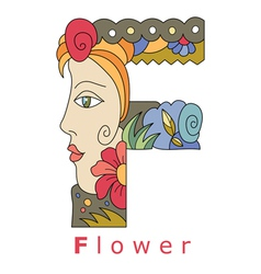 Letter F flower vector