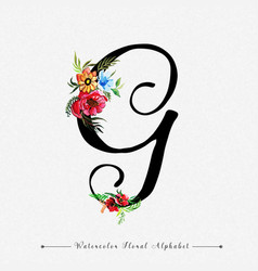 letter g watercolor floral background vector image
