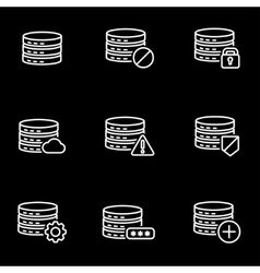 Line database icon set vector