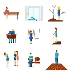 Lonely People Flat Icon Set vector image